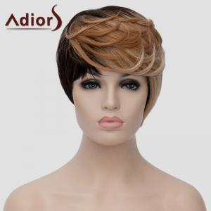 Trendy Short Shaggy Wave Synthetic Black Golden Mixed Side Bang Adiors Wig For Women -