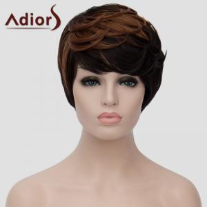 Vogue Side Bang Short Synthetic Shaggy Natural Wave Brown Highlight Adiors Wig For Women - BLACK/BROWN