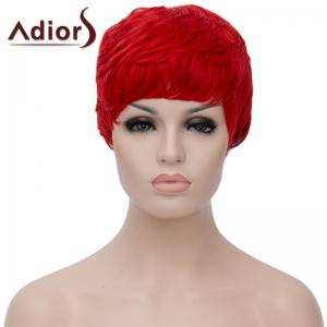 Spiffy Ultrashort Adiors Hair Capless Fluffy Straight Red Black Ombre Synthetic Bump Wig For Women - Red With Black