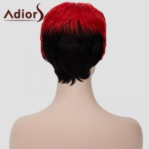 Spiffy Ultrashort Adiors Hair Capless Fluffy Straight Red Black Ombre Synthetic Bump Wig For Women - RED/BLACK