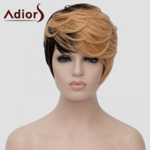 Fluffy ondes courtes capless Spiffy Side Bang Lumière Blonde mixte Black Synthetic Adiors Perruque Femmes -