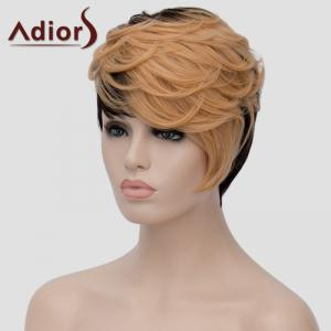 Adiors Fluffy Short Wave Capless Spiffy Side Bang Light Blonde Mixed Black Synthetic Women's Wig -