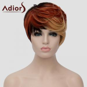 Fashion Multicolor Highlight Short Fluffy Natural Wave Synthetic Women's Adiors Wig -