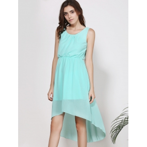 Sleeveless High-Low A Line Chiffon Dress - LIGHT GREEN XL