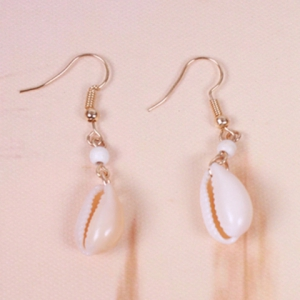 Pair of Shell Shape Dangle Earrings - Golden - One-size