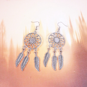 Dream Catcher Turquoise Feather Earrings -