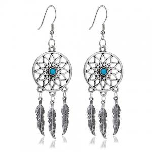 Dream Catcher Turquoise Feather Earrings