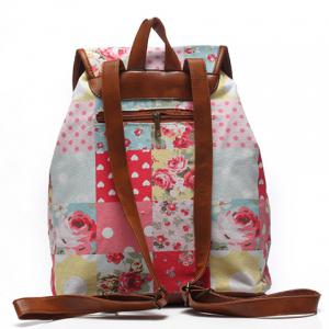 Sweet Buckles and Floral Print Design Satchel For Women -