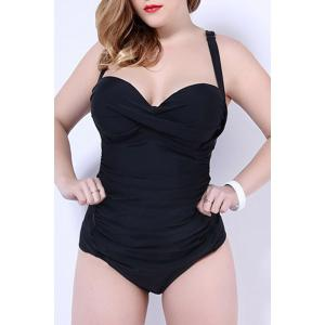 Plus Size Bandeau One Piece Swimsuit with Underwire