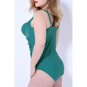 Plus Size Bandeau One Piece Swimsuit with Underwire - GREEN 2XL