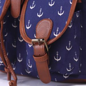 Casual Anchor Print and Buckle Design Satchel For Women -