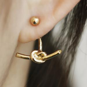 Knot Design Alloy Earrings - Golden