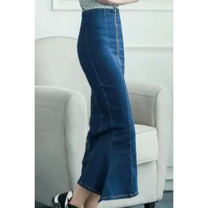 Fashionable Zipper Fly Denim Women's Fishtail Dress -