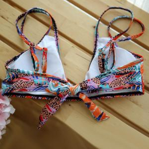 Stylish Strappy Abstract Feather Print Colorful Bikini Set For Women -