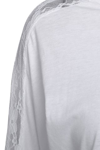 Store Women's Batwing Top Dolman Long Sleeve Lace Loose T Shirt - ONE SIZE WHITE Mobile