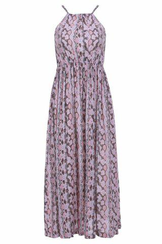 Unique Maxi Printed Chiffon Boho Slip Beach Dress SHALLOW PINK M