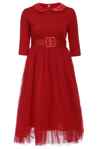 Outfit Peter Pan Collar Long Sleeve A-Line Midi Dress RED S