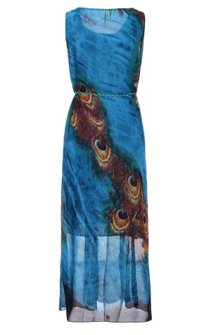 Affordable Bohemian Scoop Neck Sleeveless Printed Ankle-Length Women's Dress - L BLUE AND YELLOW Mobile
