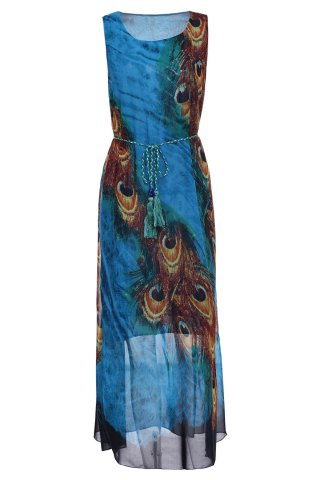 Discount Bohemian Scoop Neck Sleeveless Printed Ankle-Length Women's Dress BLUE/YELLOW L