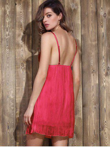 Discount Women's Stylish Plunging Neck Lace Bowknot Decorated Pleated Babydolls - M RED Mobile