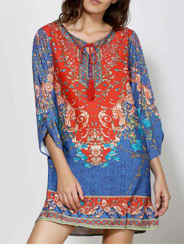Affordable Retro Style V-Neck Full Floral Print 3/4 Sleeve Dress For Women COLORMIX M