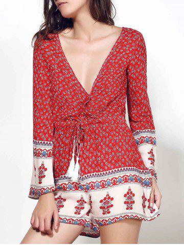 Cheap Ethnic Plunging Neck Long Sleeve Printed Drawstring Women's Romper RED S