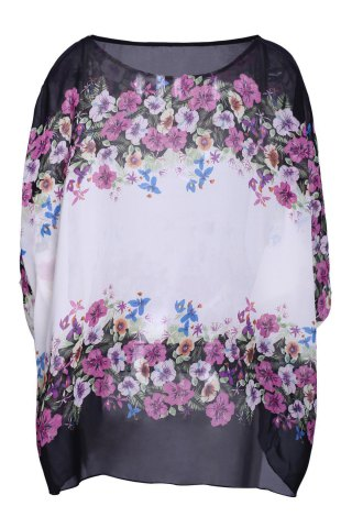 Store Refreshing Scoop Neck Flower Print Batwing Sleeve Women's Chiffon Blouse - L WHITE Mobile