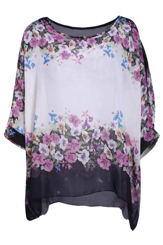 New Refreshing Scoop Neck Flower Print Batwing Sleeve Women's Chiffon Blouse WHITE L