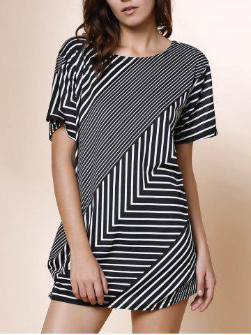 Cheap Stylish Skew Neck Short Sleeve Striped Women's T-Shirt