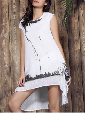 Cheap Casual Scoop Neck Ink Print Short Sleeve Dress For Women