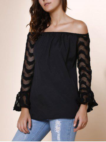 Store Fashionable Off-The-Shoulder Lace Spliced Sleeve Black T-Shirt For Women