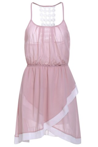 Unique Sweet Spaghetti Strap Hollow Out Asymmetrical Women's Dress - L PINK Mobile