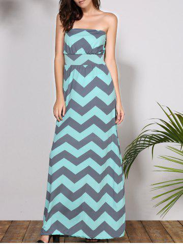 Best Bohemian Strapless Chevron Maxi Dress LIGHT BLUE S