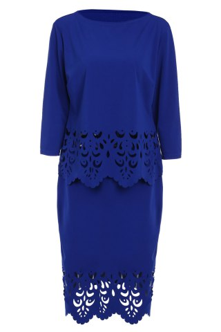Online Plus Size Openwork Two Piece Fitted Tight Dress SAPPHIRE BLUE L