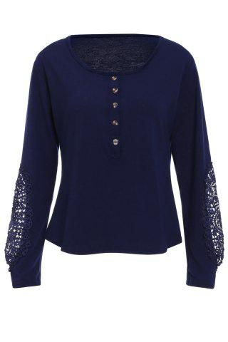 Casual Scoop Neck Lace Splicing Long Sleeve T-Shirt For Women - DEEP BLUE S