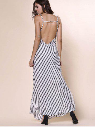 Best Bohemian Plunging Neckline Striped Backless Dress For Women - S WHITE Mobile