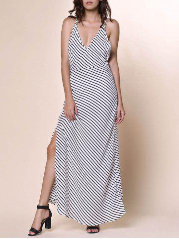 Latest Bohemian Plunging Neckline Striped Backless Dress For Women WHITE S