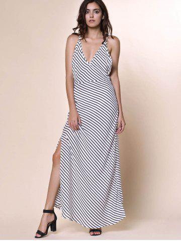 Shops Bohemian Plunging Neckline Striped Backless Dress For Women - S WHITE Mobile