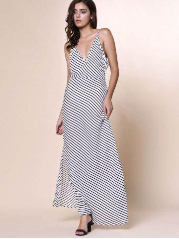 Unique Bohemian Plunging Neckline Striped Backless Dress For Women - S WHITE Mobile