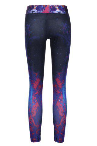 Unique Stylish Elastic Waist Tiger and Galaxy Printed Yoga Pants For Women - ONE SIZE(FIT SIZE XS TO M) BLACK Mobile