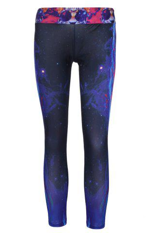 Shop Stylish Elastic Waist Tiger and Galaxy Printed Yoga Pants For Women BLACK ONE SIZE(FIT SIZE XS TO M)