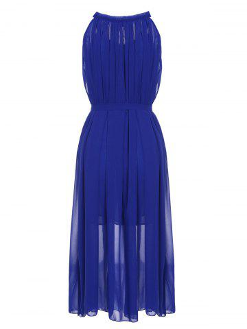 Discount Stylish Jewel Neck Solid Color Chiffon Dress For Women - ONE SIZE SAPPHIRE BLUE Mobile