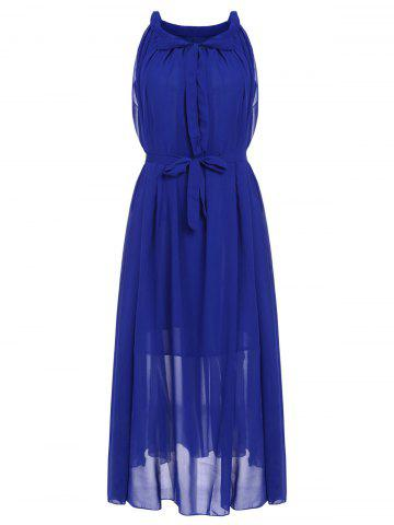 Online Stylish Jewel Neck Solid Color Chiffon Dress For Women