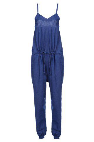 Outfit Brief Spaghetti Strap Purplish Blue Sleeveless Jumpsuit For Women PURPLISH BLUE M