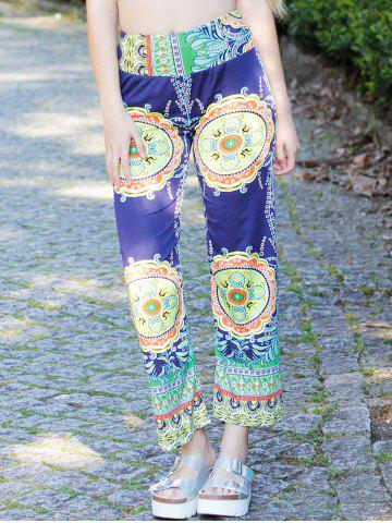 Stylish Mid-Waisted Printed Loose-Fitting Women's Exumas Pants - COLORMIX S