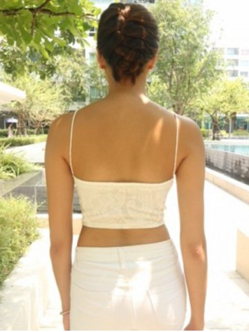 Affordable Exquisite V-Neck Spaghetti Strap White Crop Top For Women - XL WHITE Mobile