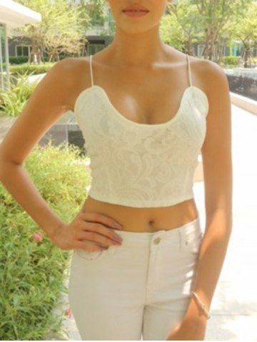 Sale Exquisite V-Neck Spaghetti Strap White Crop Top For Women WHITE XL