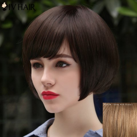 Online Women's Trendy Human Hair Siv Hair Short Bobo Style Wig - BROWN WITH BLONDE  Mobile