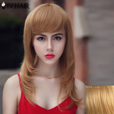 Trendy Trendy Human Hair Siv Hair Long Women's Wig
