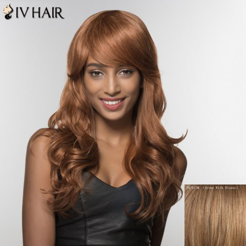 Hot Trendy Siv Hair Inclined Bang Long Curly Human Hair Women's Wig